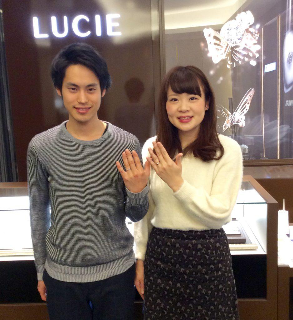 婚約指輪とも相性バツグン!LUCIE(ルシエ)の結婚指輪アクア(新潟市/宮坂悠平様・桃香様)