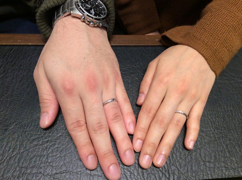 """結婚指輪 LUCIE(ルシエ)の""""リップル"""" (柏崎市/吉田裕貴様&渡辺唯様)"""