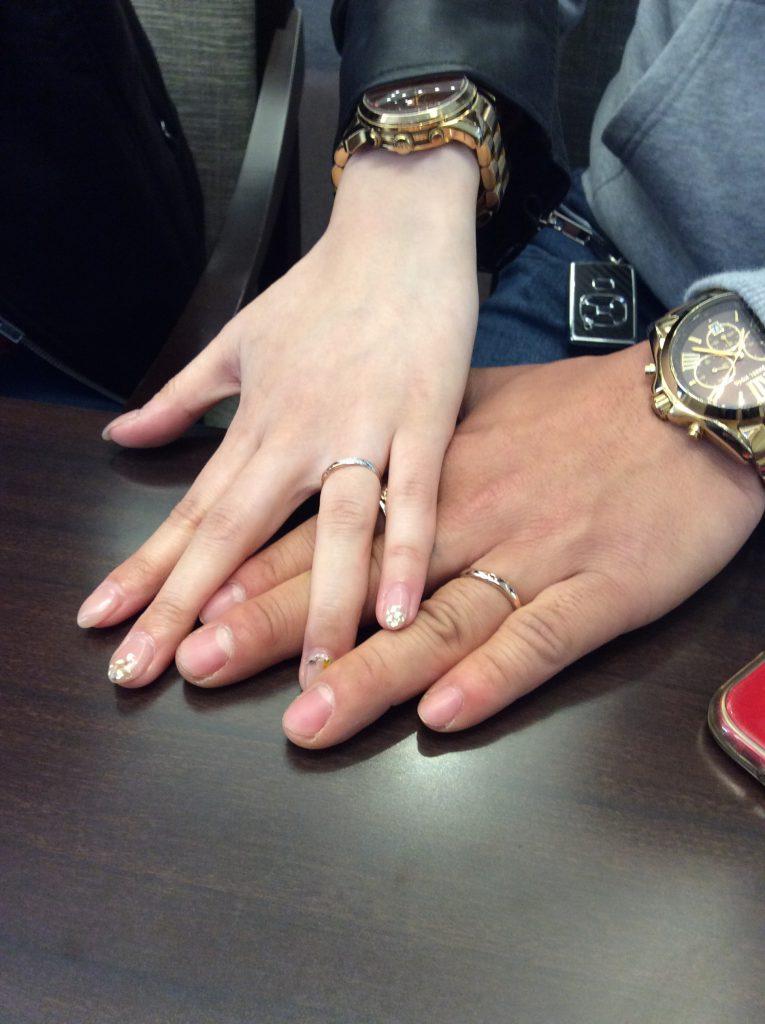 他にない!俄(にわか)の結婚指輪「雪佳景」(新潟市/S様ご夫婦)