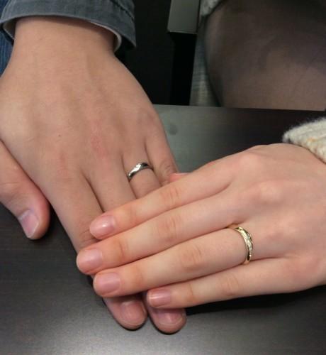 俄(にわか)のご結婚指輪『単衣』イエローゴールドアレンジでお作りしました!(青木様ご夫妻)