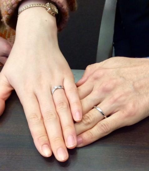 ‐重なる世界観‐ 俄『婚約指輪 木洩日&結婚指輪 せせらぎ』のセットリング(新潟市/Y様E様)