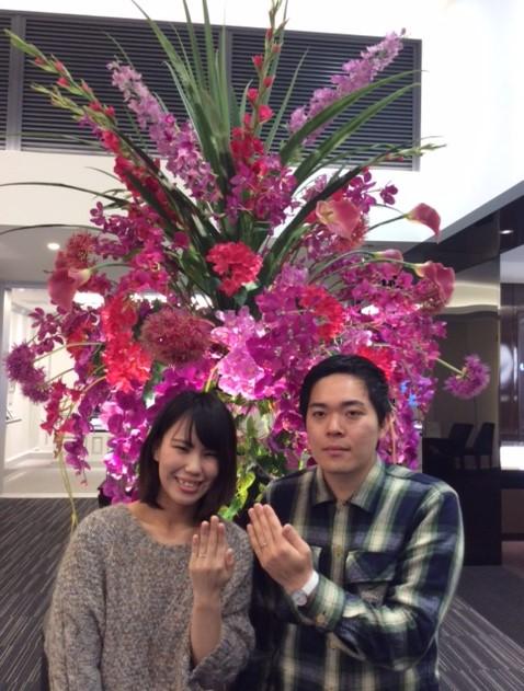 俄(にわか)『初桜(ういざくら)』のご結婚指輪    (南魚沼市/K様ご夫妻様)