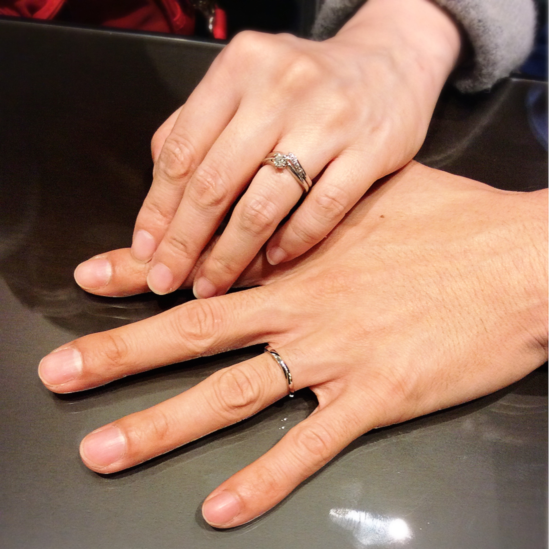 俄(にわか)の婚約指輪『初桜』・結婚指輪『せせらぎ&初桜』をご成約(新潟市/Y様ご夫婦)