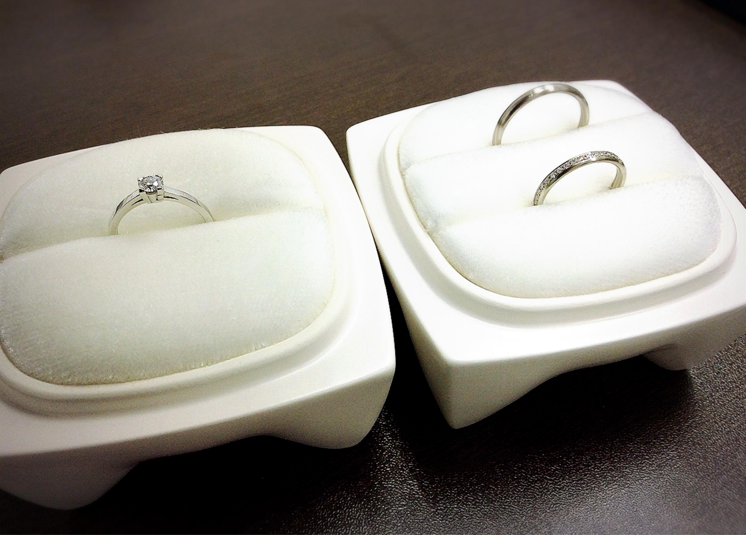 俄(にわか)のご婚約指輪『心』・ご結婚指輪『長閑』(新潟市/T様・M様)