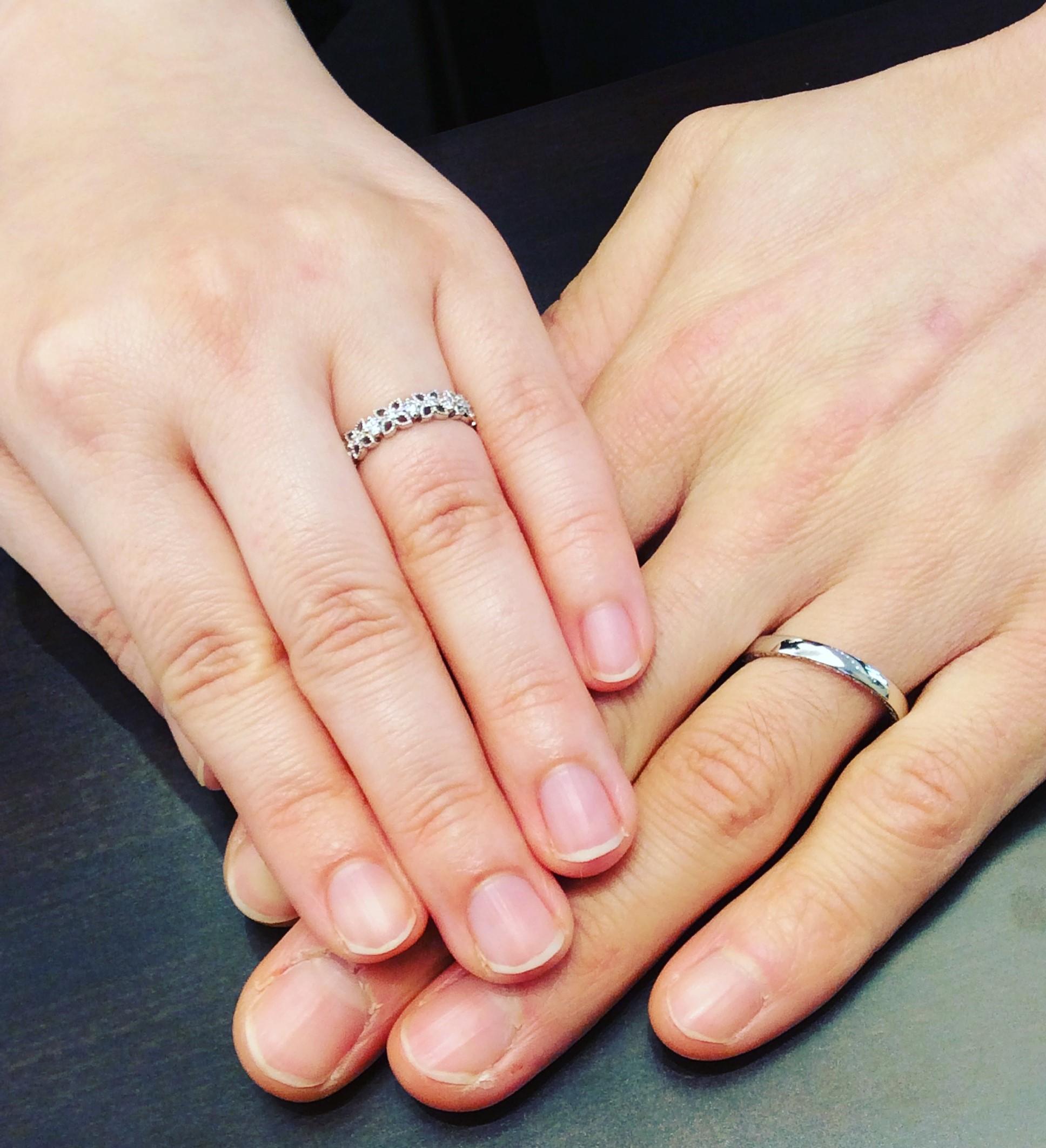 """ルシエ(LUCIE)のご結婚指輪""""ネッサンス""""&""""ぺタル""""  (新潟市/Y様ご夫婦)"""