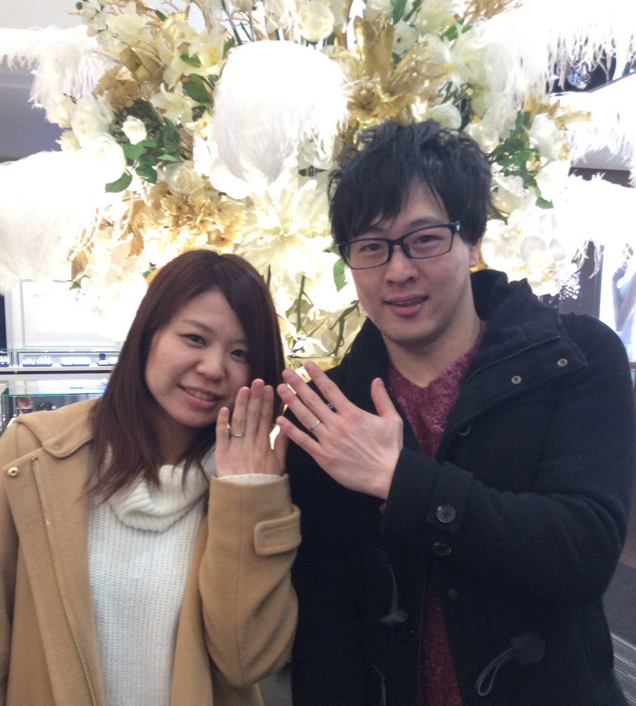 俄(にわか)の『唐花&初桜』ご結婚指輪  (新潟市/Y様ご夫婦)