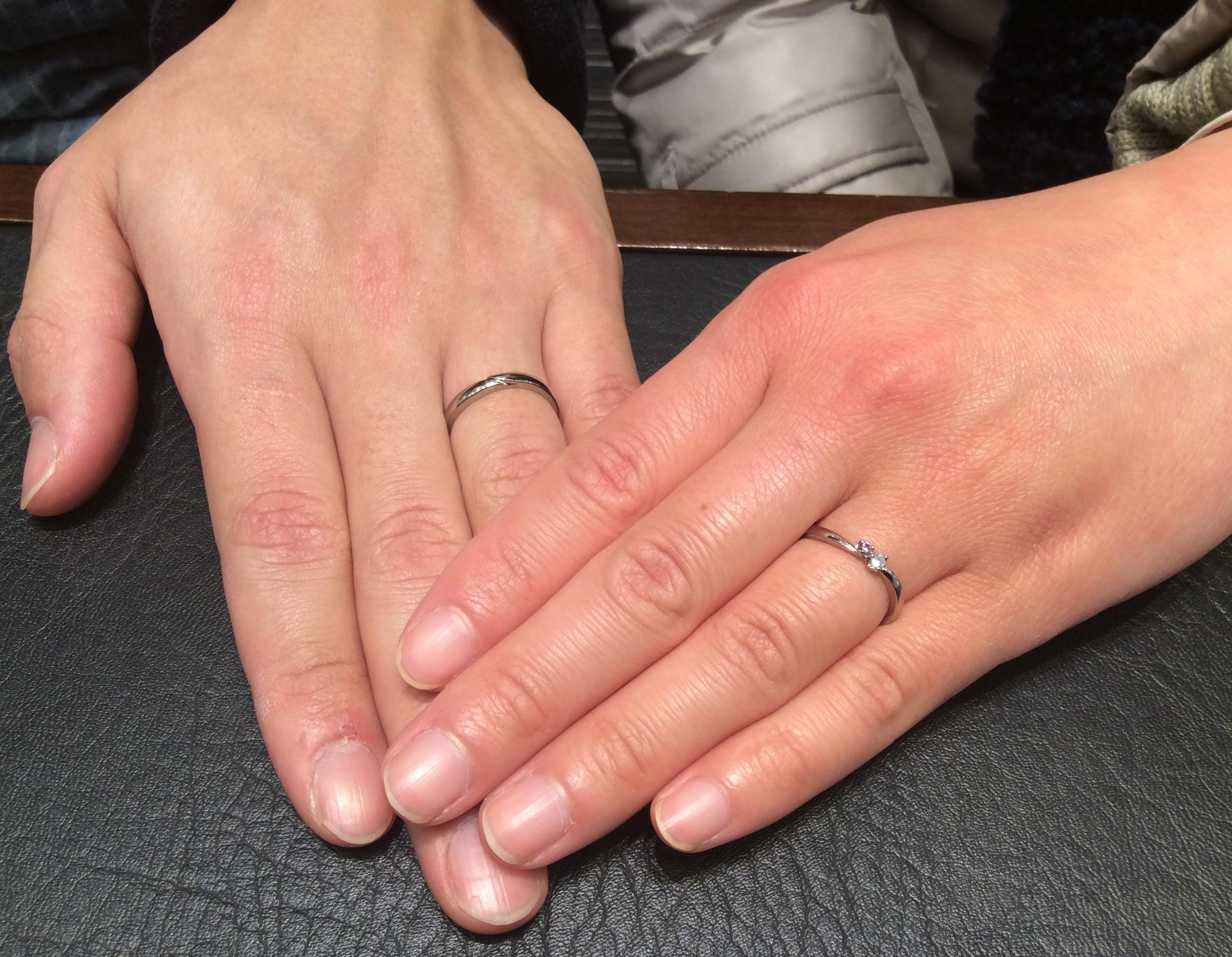 結婚指輪 LUCIE(ルシエ)の『オーロラ』をプラチナゴールドでお作りしました! 💐(新潟市/土屋様ご夫婦)