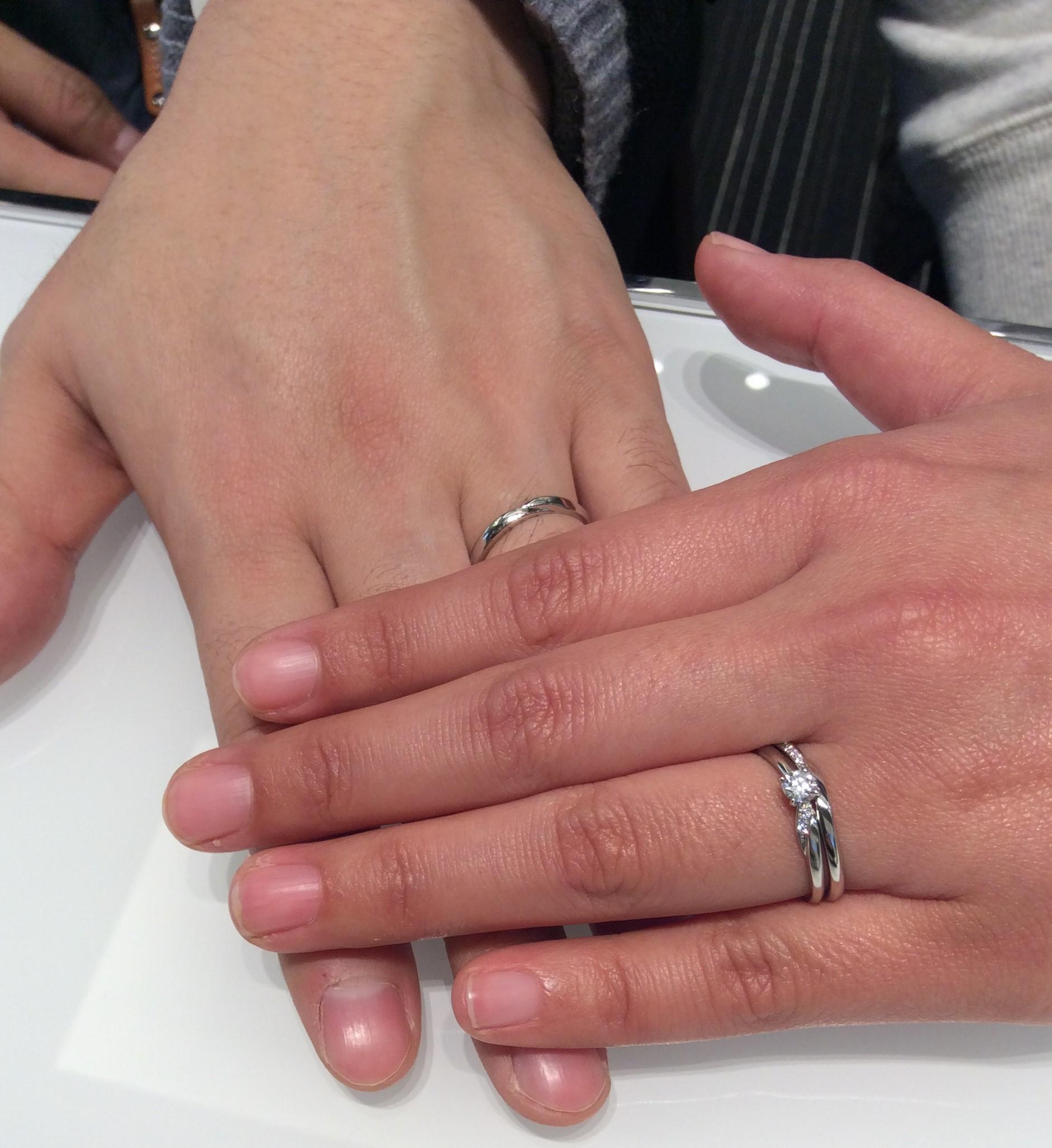 長岡ご出身, Wご夫婦様 結婚指輪俄のプラチナリング せせらぎをご成約