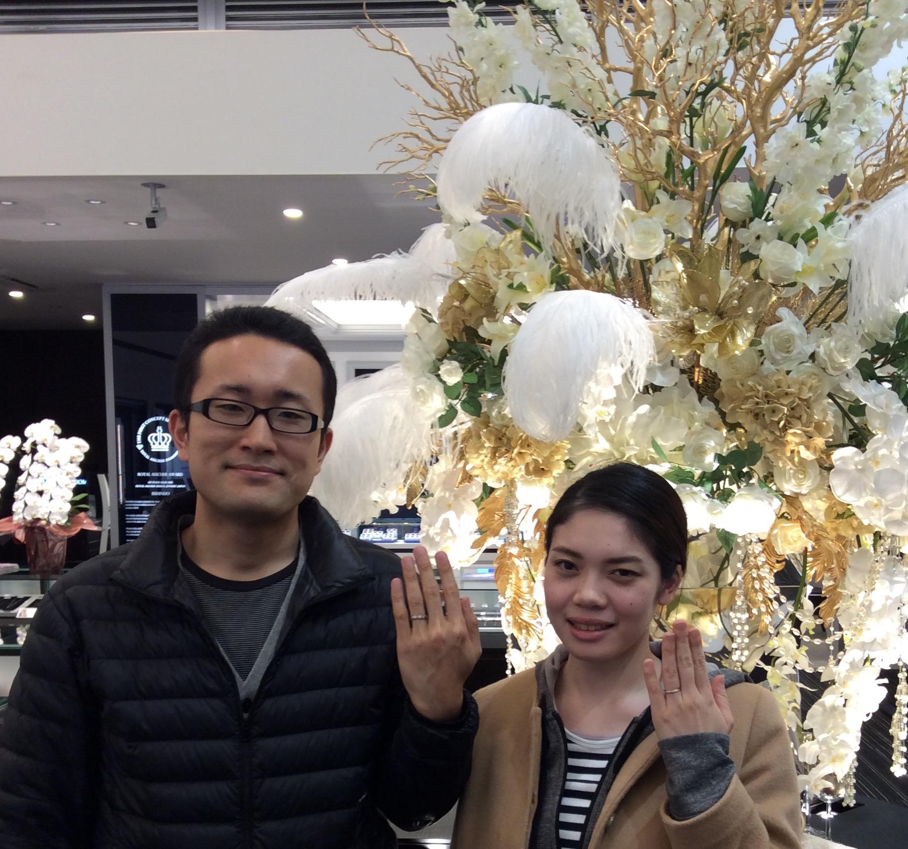 俄(にわか)のご結婚指輪に大満足😊(静岡県/T様ご夫婦)