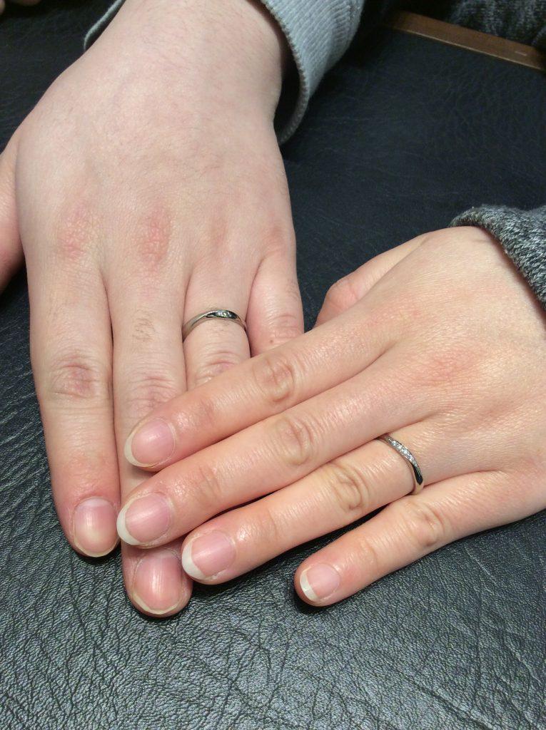 結婚指輪 プルーブとルシエをブラックゴールドとプラチナゴールドアレンジでお作り頂きました(長岡市/武士俣様ご夫婦)
