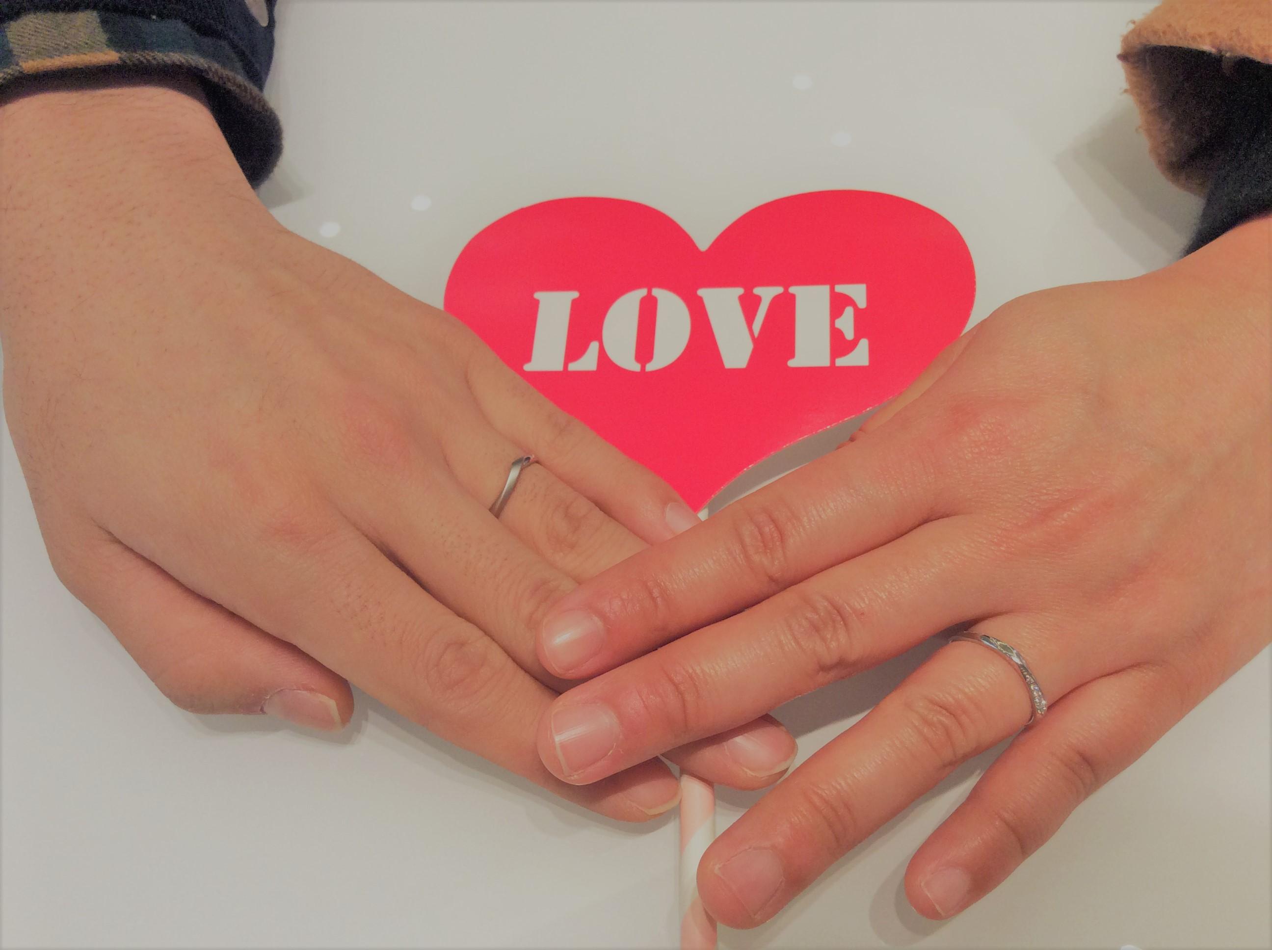 結婚指輪 カフェリング『シェリ&ノエル』をプラチナリングでおつくり(見附市/K様ご夫婦)