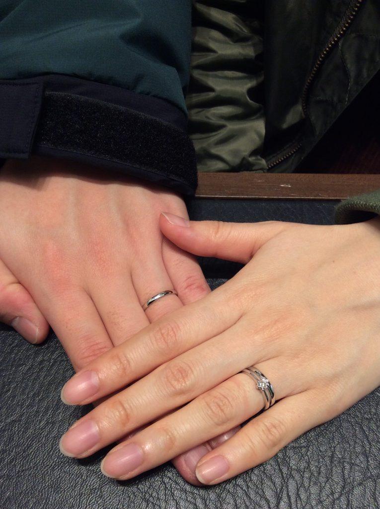 一真堂オリジナル1石タイプの婚約指輪&ノクルの結婚指輪 (燕市/野村周平様&千暁様ご夫婦)