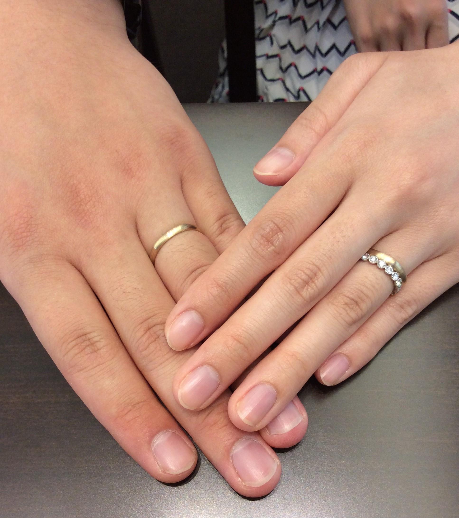 """婚約指輪にルシエの""""パニエ""""、結婚指輪に俄(にわか)の""""ひなた""""をご成約(新潟市/F様・H様)"""