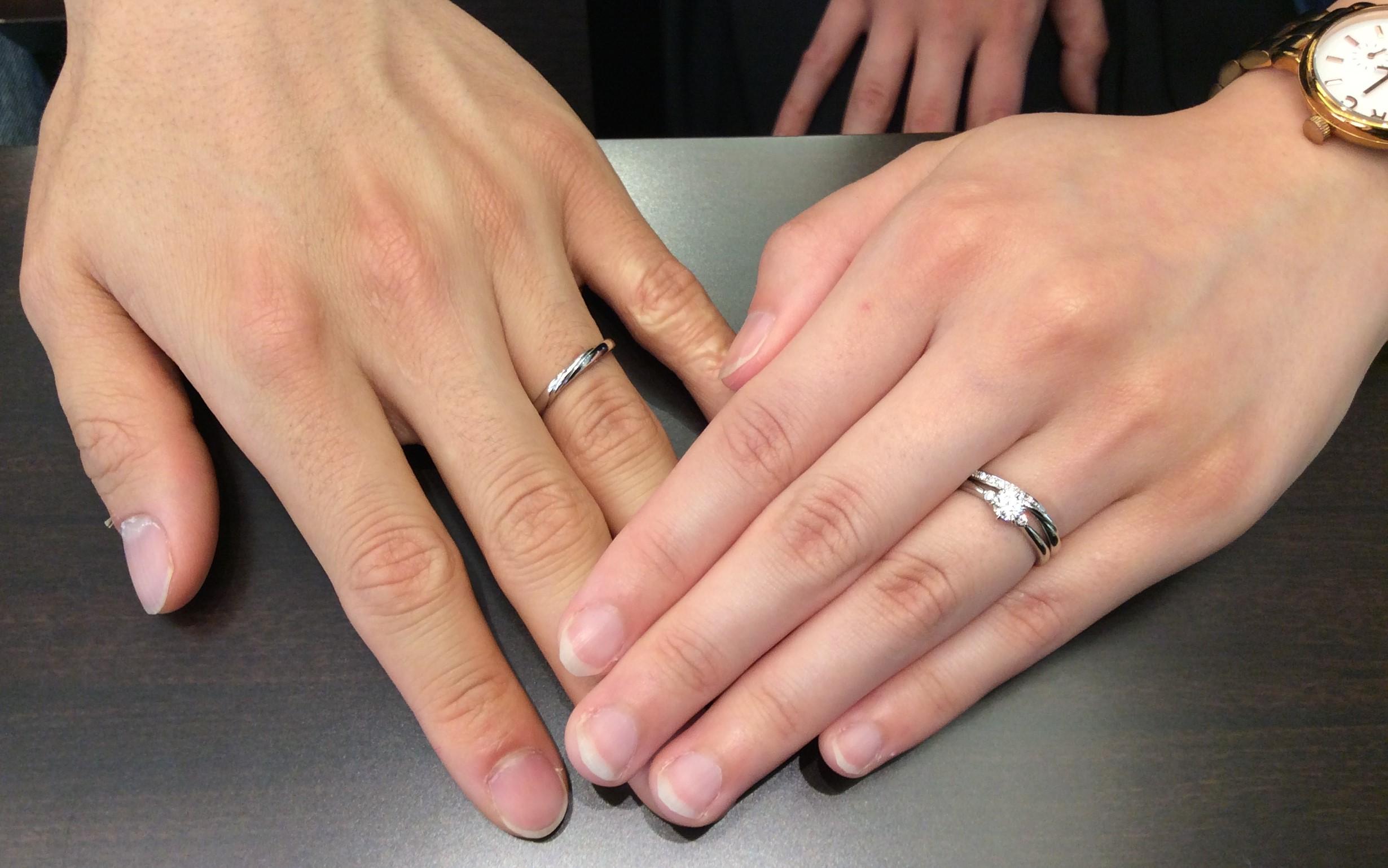 婚約指輪 結婚指輪  ルシエのセットリング 「セリーン&リップル」   (新潟市/五十嵐祥允様&土屋望美様)