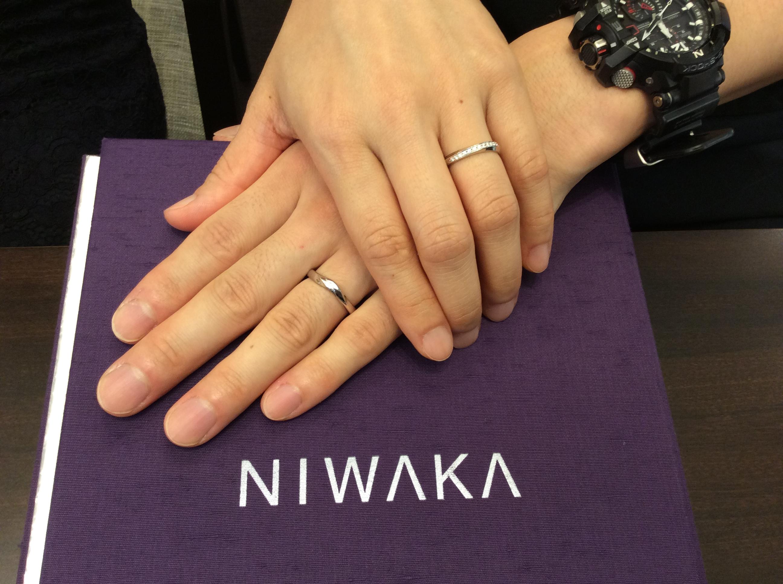 種類が豊富なNIWAKAの結婚指輪から選びました♡(長岡市/T様ご夫婦)