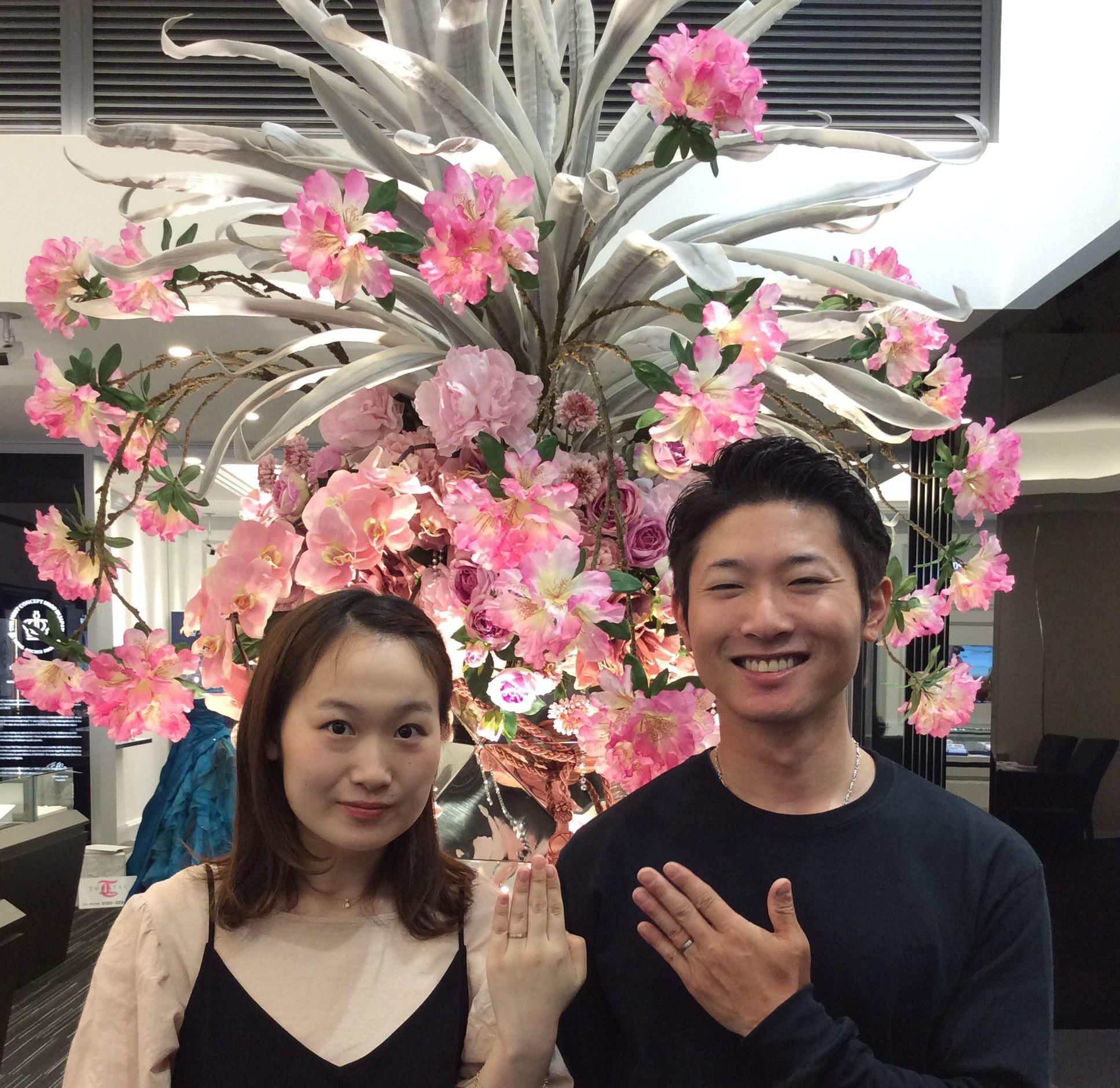 結婚指輪に俄(にわか)の『ことほぎ』をご成約(新潟市西区/安澤様ご夫婦様)