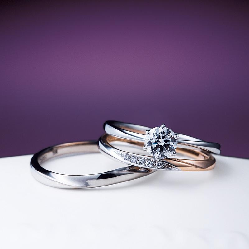 新潟でNIWAKA(にわか)の婚約指輪・結婚指輪のセットリング 『花雪』&『雪佳景』