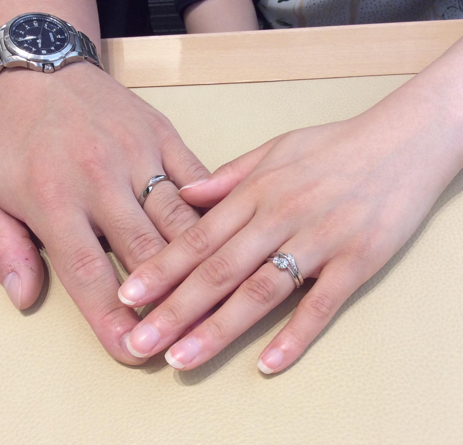NIWAKA 婚約指輪「茜」&結婚指輪「初桜」(新潟市/菅原雅通様・斉藤麻依様)