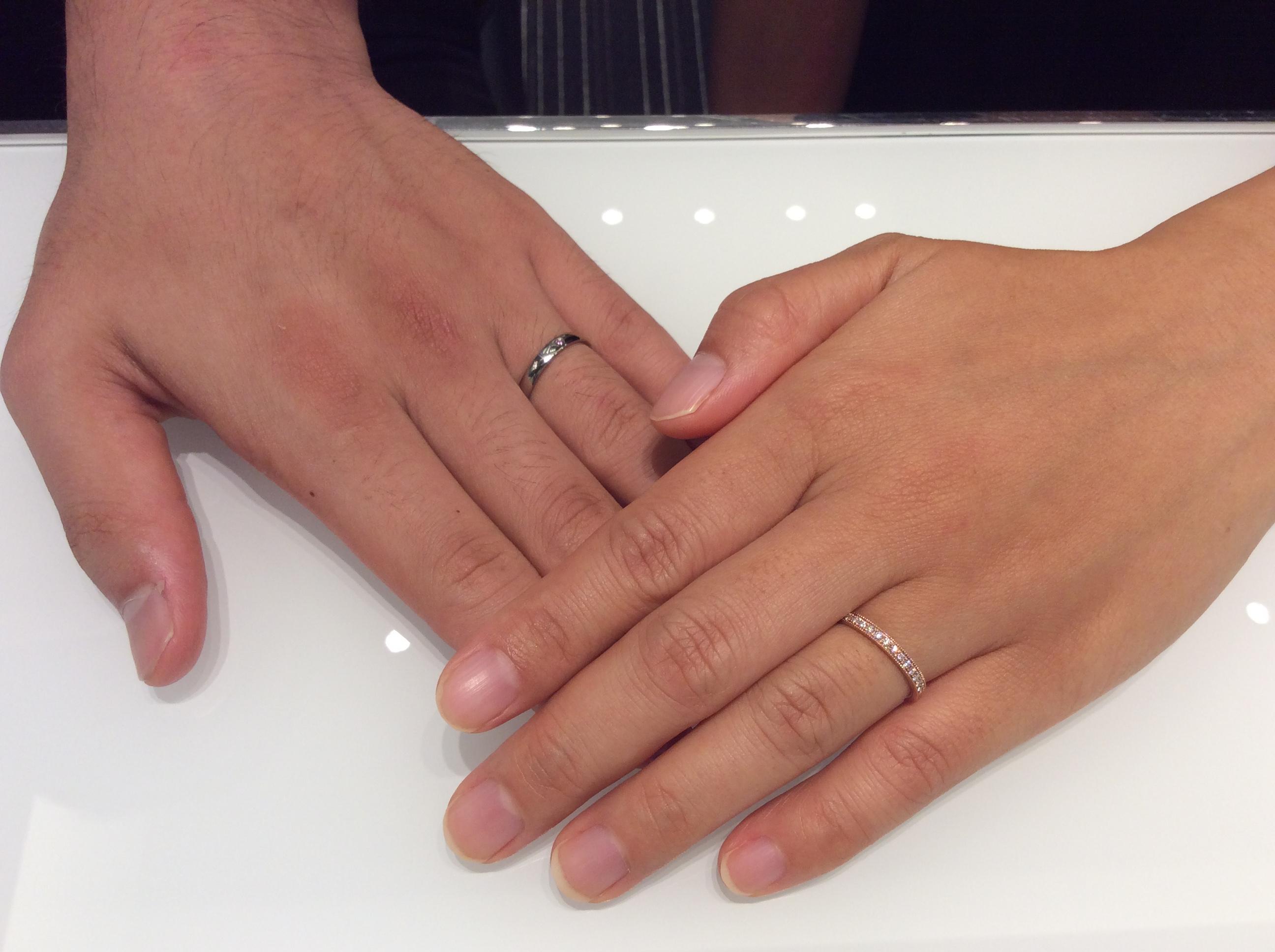 俄の結婚指輪「ことほぎ」&ルシエの結婚指輪「パルファン」(新潟市/M様ご夫婦)