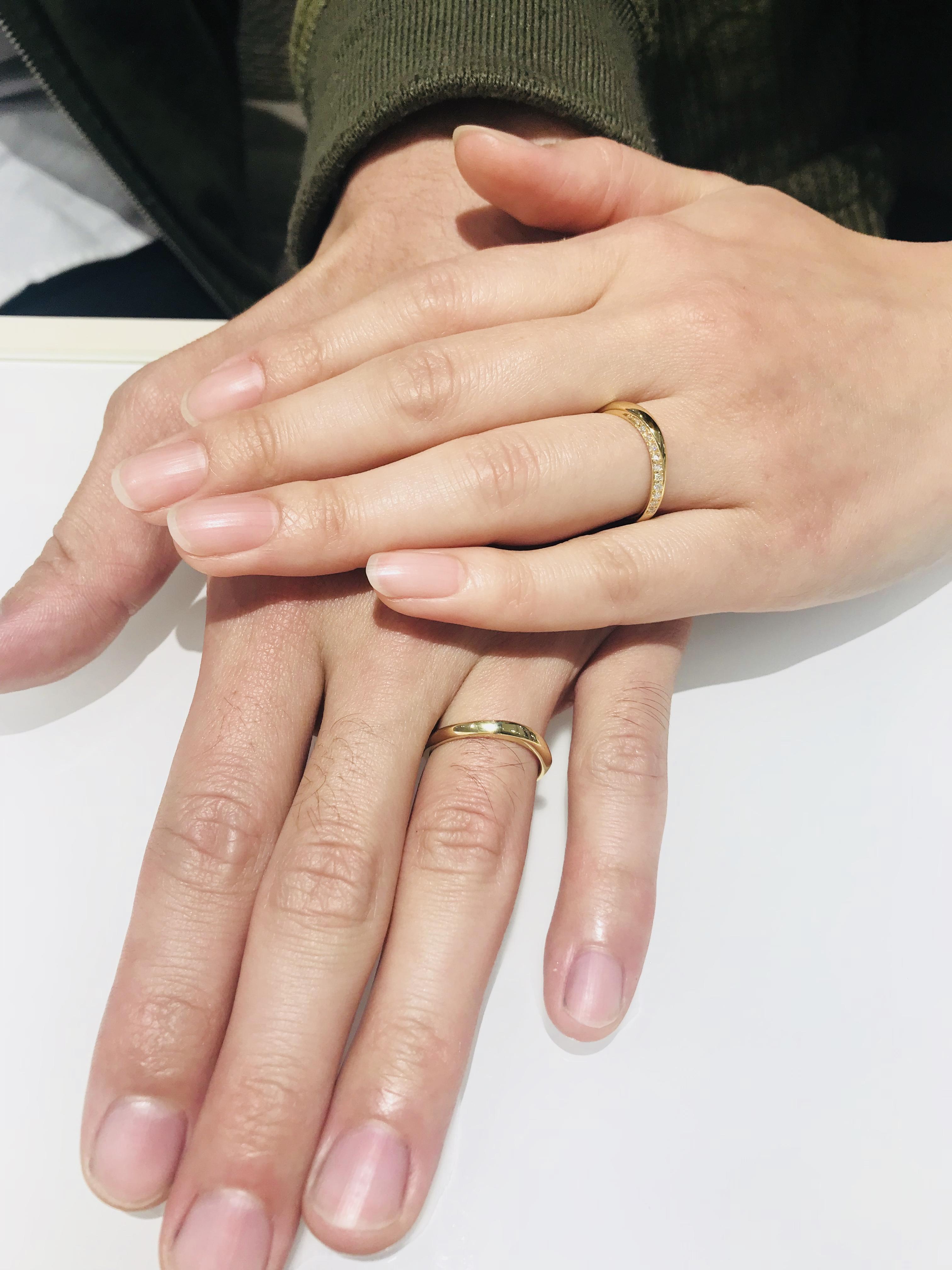 俄(にわか)の結婚指輪「凛」をイエローゴールドで⭐︎(新潟市/T様・Y様)