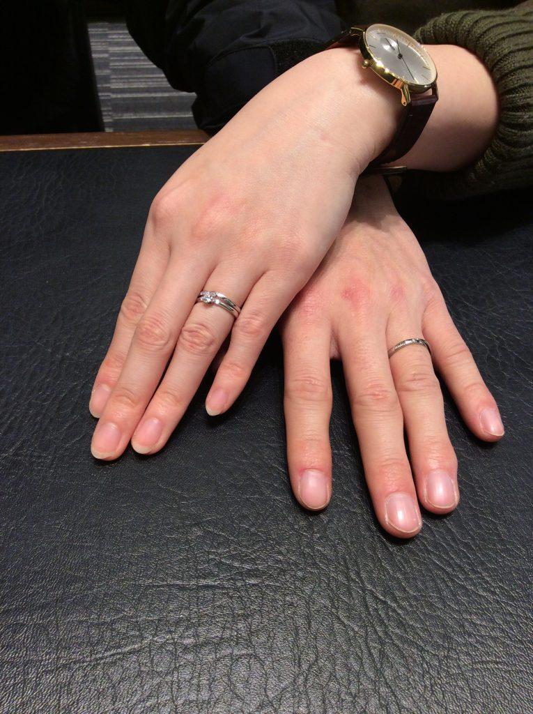 シンプル美✨俄(にわか)の結婚指輪「せせらぎ」(見附市/K様ご夫婦様)