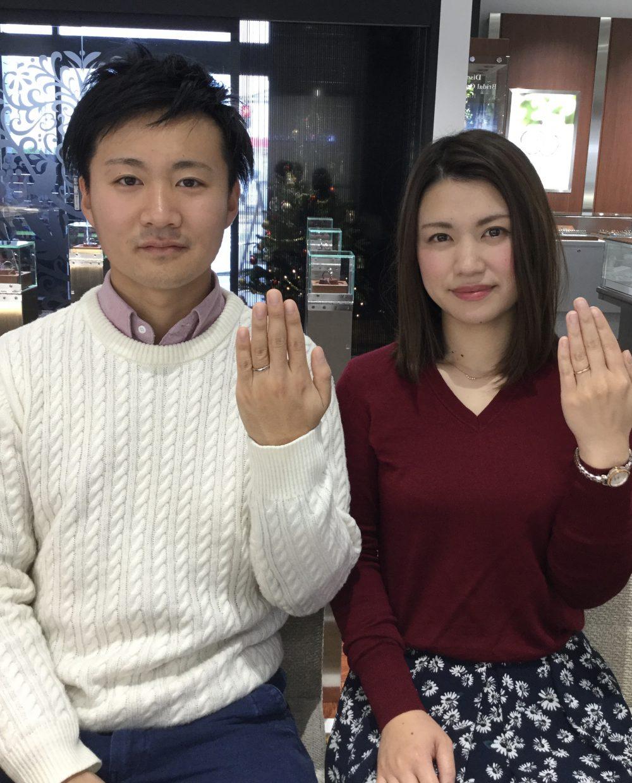 槌目模様がお気に入り💓ルシエの結婚指輪「ブランシュ」(福島県/S様ご夫婦)