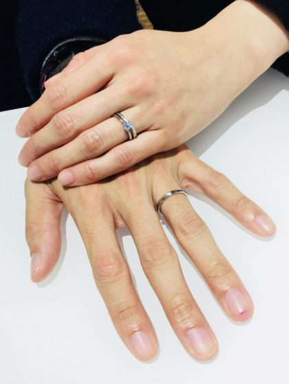 LUCIE(ルシエ)の婚約指輪「セリーン」と結婚指輪「リップル」をご成約♡(新潟市/T様&Y様)