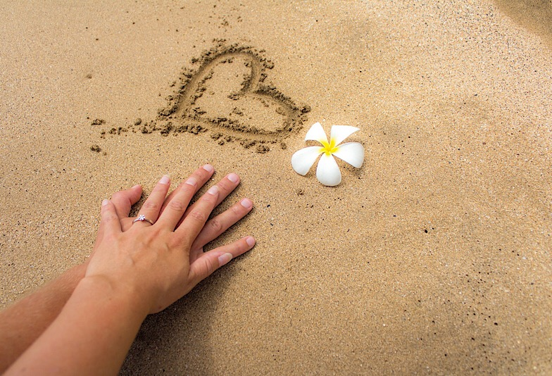 ハワイ砂浜でカップルが手を重ねている