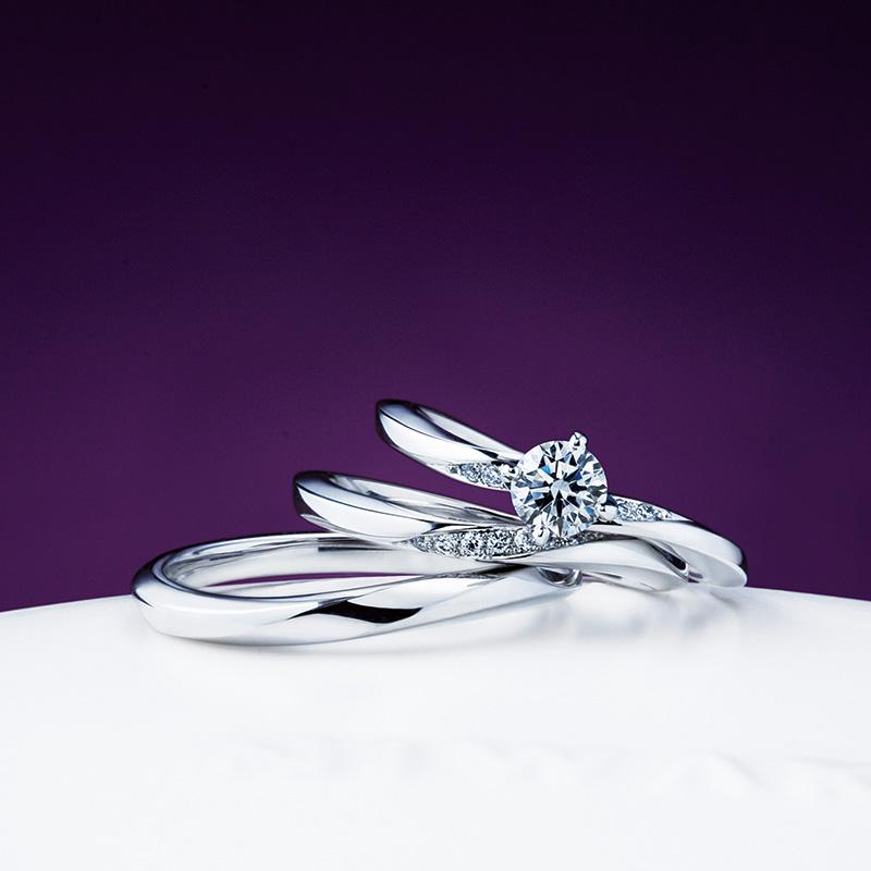 俄(にわか)せせらぎの結婚指輪(マリッジリング)、木洩日(こもれび)の婚約指輪(エンゲージリング)