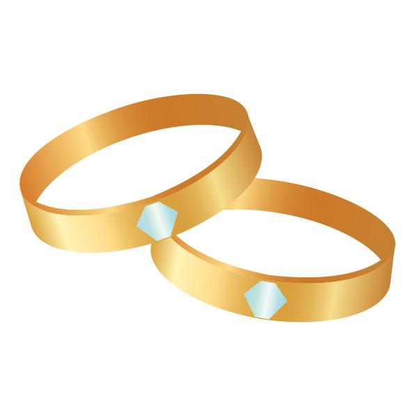 結婚指輪(マリッジリング)、ゴールド、ダイヤモンド