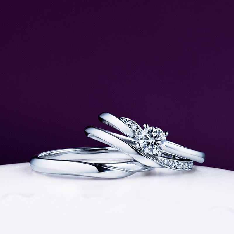 俄(にわか) 婚約指輪木洩日 結婚指輪せせらぎ セットリング