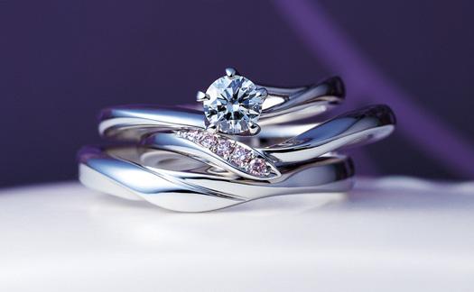 俄(にわか)婚約指輪 結婚指輪 初桜のセットリング