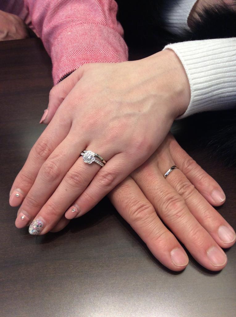 俄(にわか) 婚約指輪「花麗」&結婚指輪「せせらぎ」をご成約いただきました/新潟市 吉野訓様・松田直子様