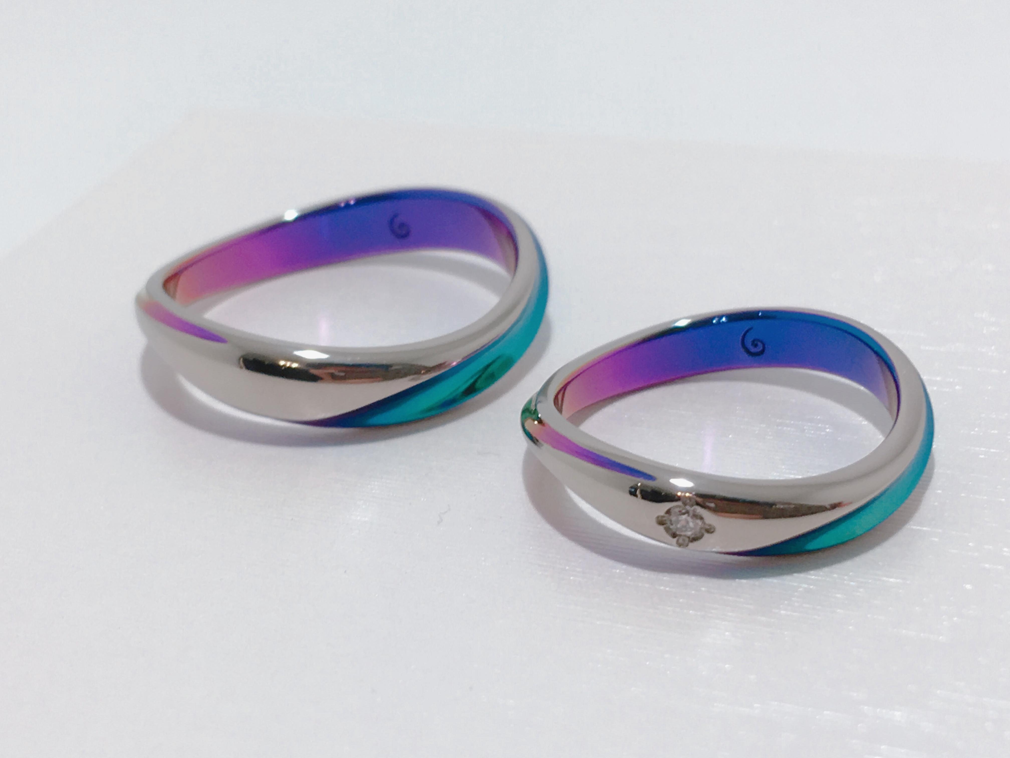 カラーリングが今話題のSORAの「ガンガ」結婚指輪をご成約。新潟県妙高市拓誠様・栞奈様