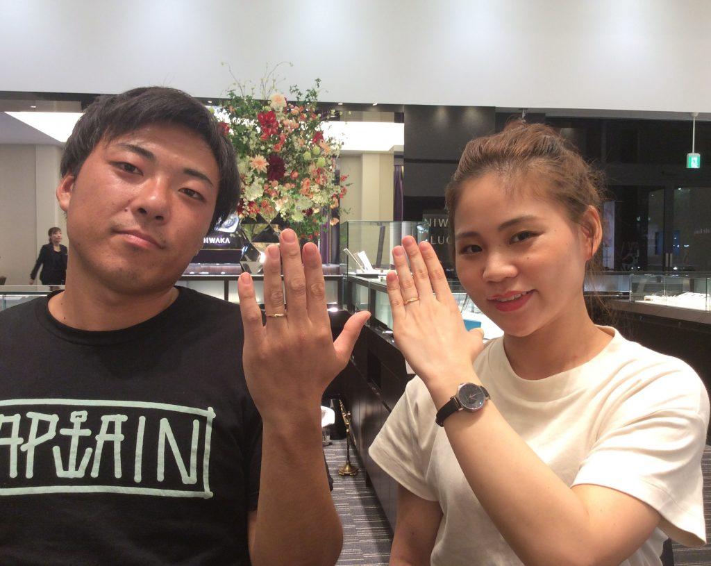 ロイヤルアッシャーの結婚指輪をイエローゴールドで/新潟市M様&S様