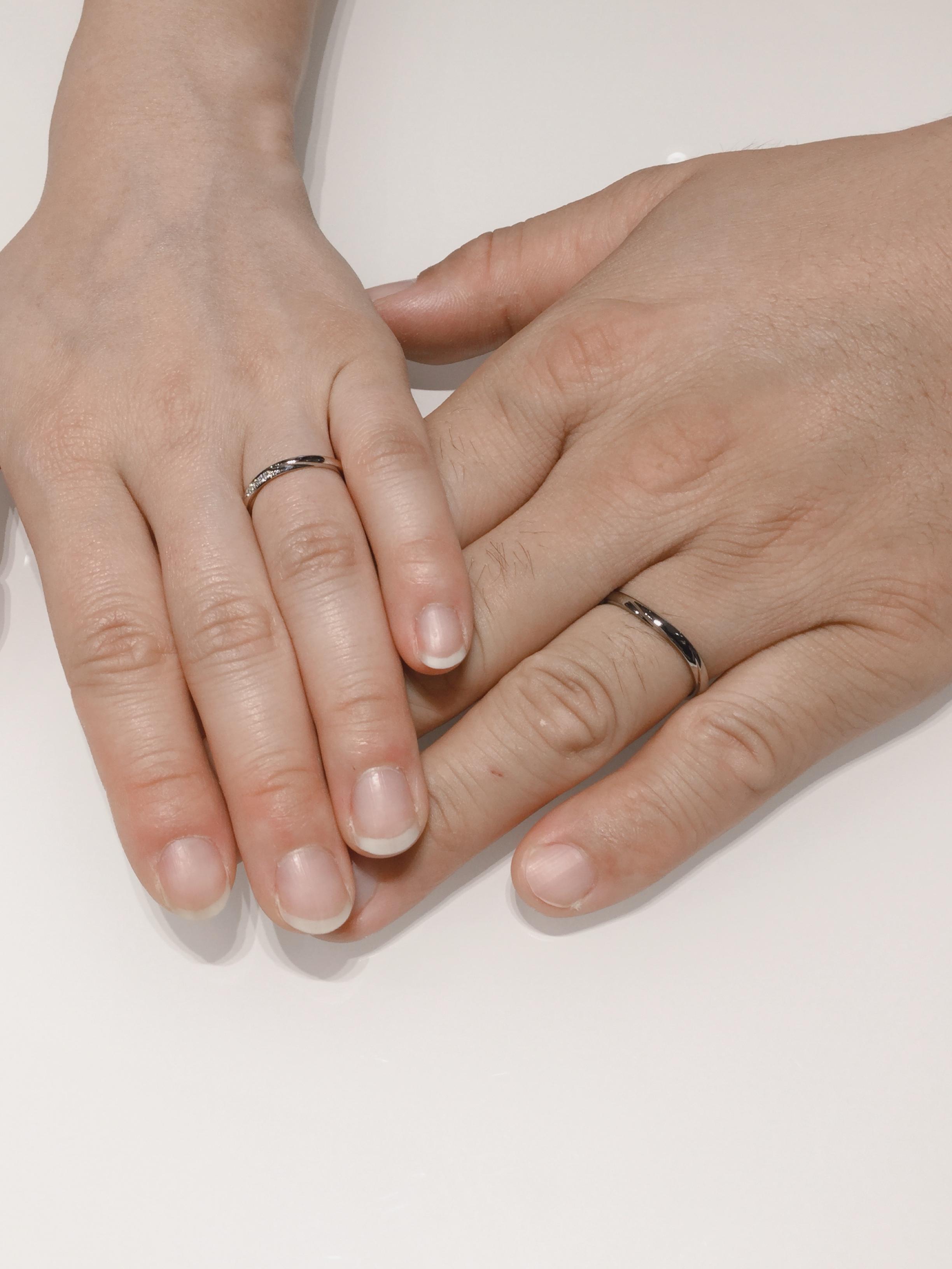 プラチナゴールドの結婚指輪 俄の雪佳景をご成約 新潟市D様・R様