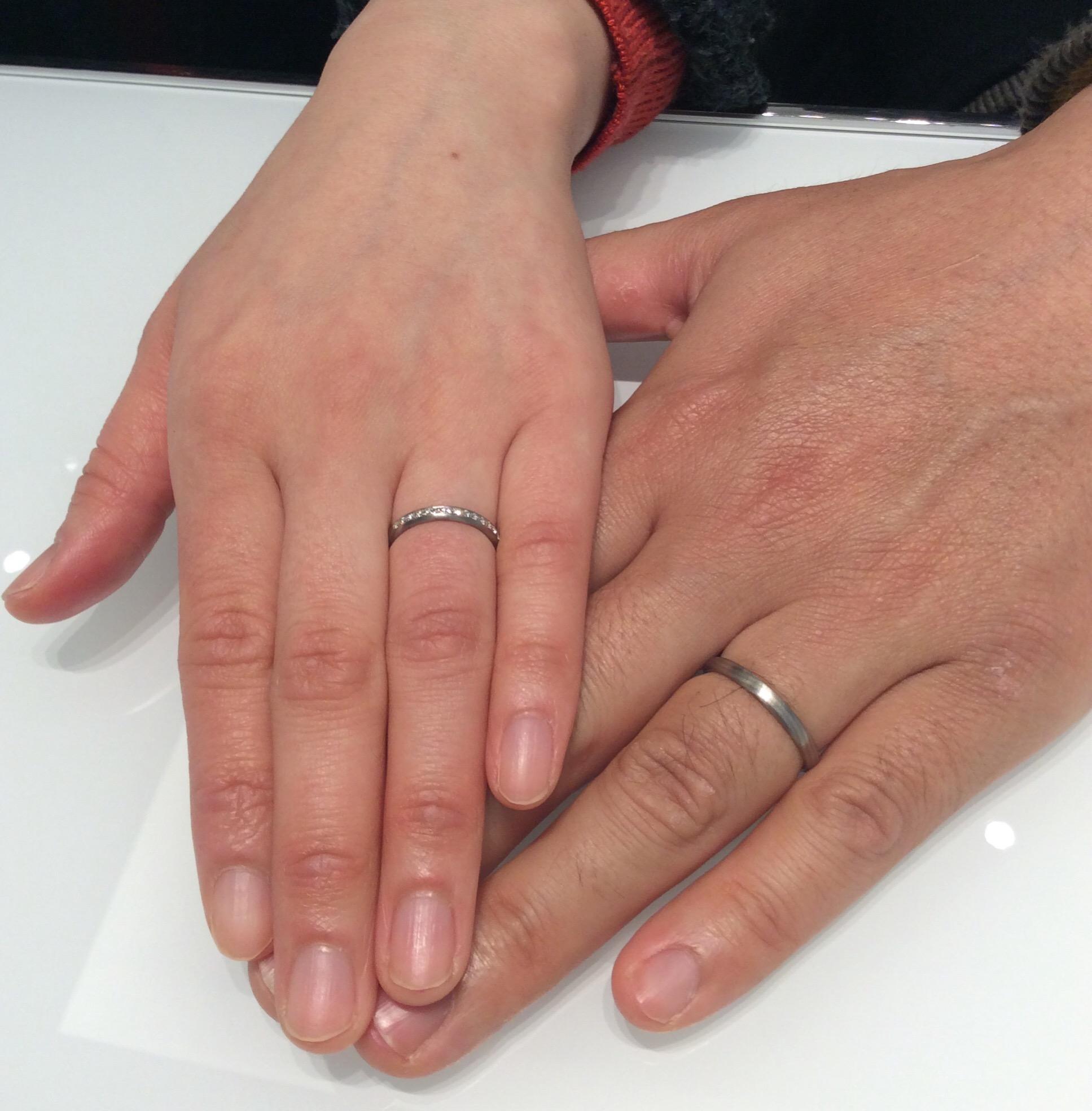 【俄(にわか) 結婚指輪】木目のデザインが素敵!長閑をご納品/Y様&S様