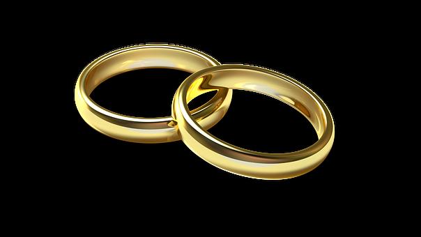 イエローゴールドの金属の結婚指輪、ペアのストレートリングの画像