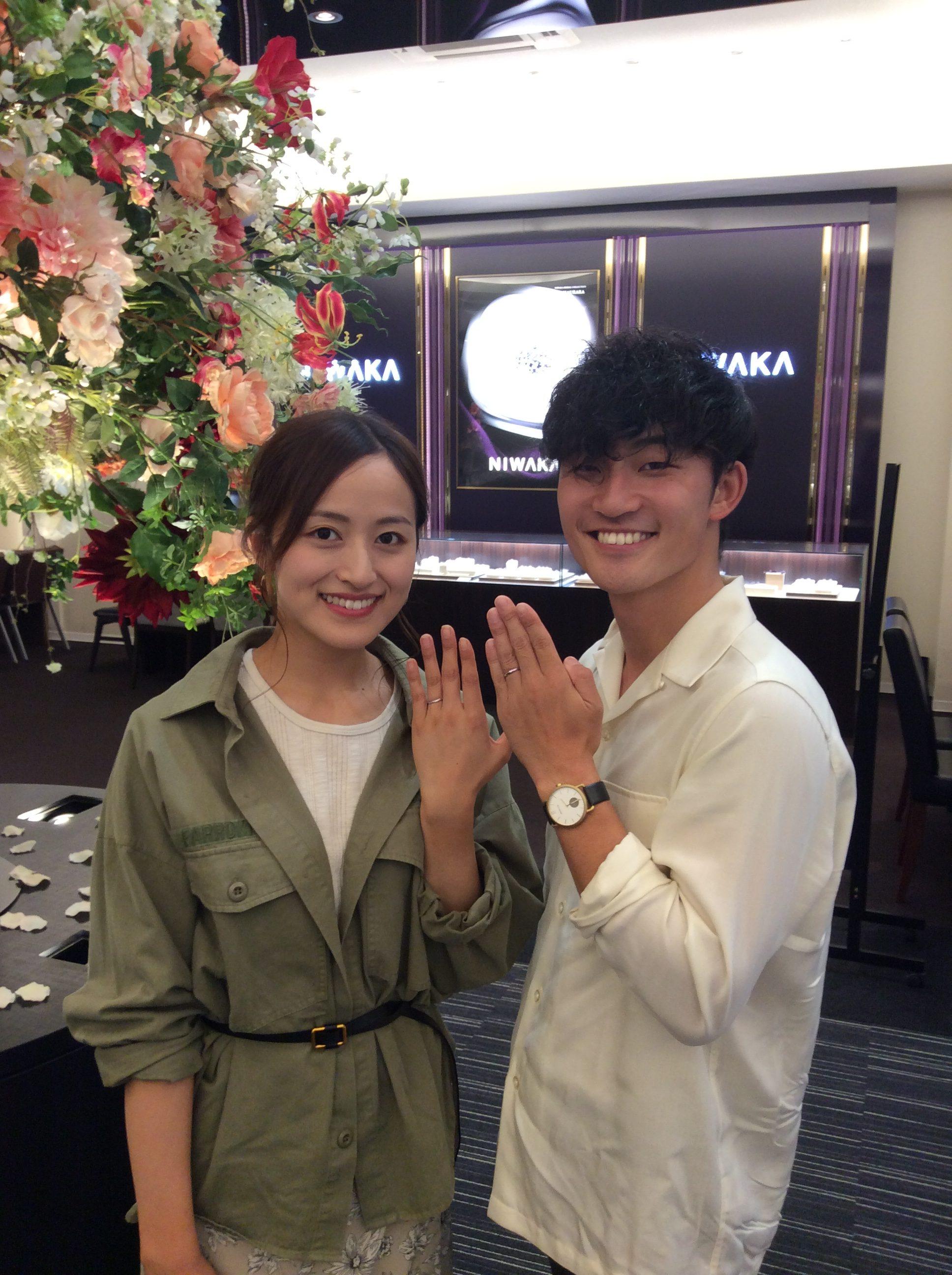 【新潟市】俄(にわか)/NIWAKA 結婚指輪「朝葉」とセットリングの美しさ|山田烈矢様・利根川奈央様