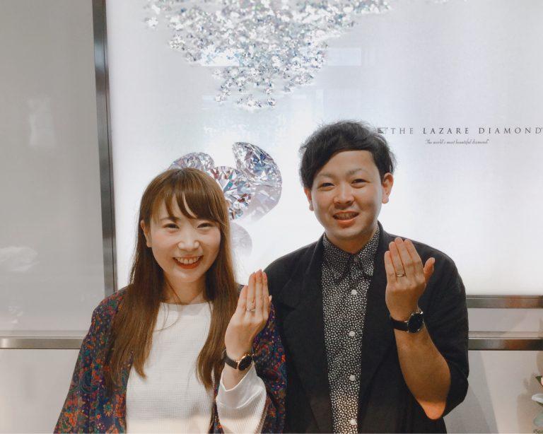 ラザールダイヤモンドの婚約指輪「リリーズ」と俄の結婚指輪「ことほぎ」をご成約 新潟市K様・K様