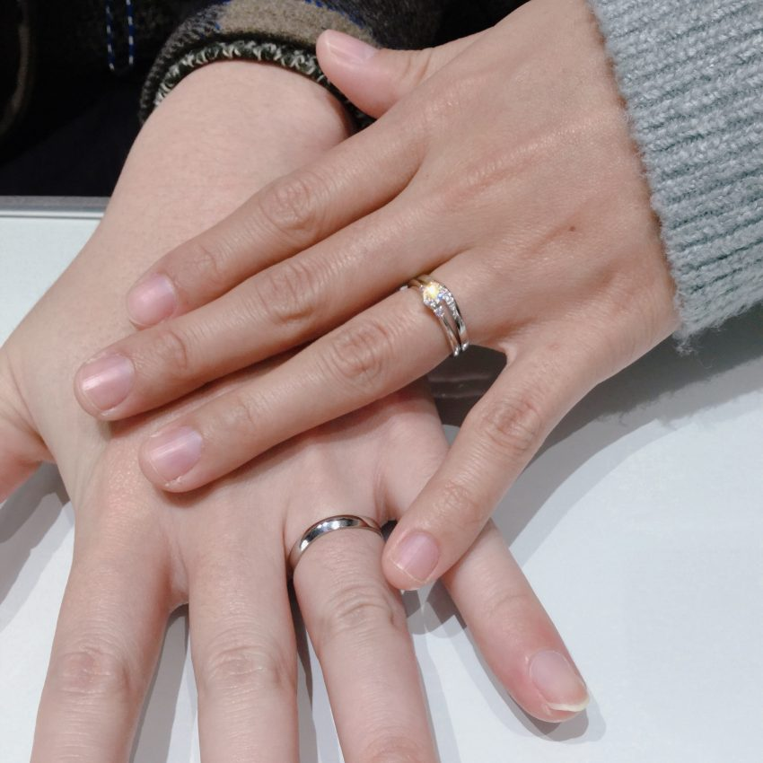 【ピンクダイヤモンド】高品質なラザールダイヤモンドの婚約指輪・結婚指輪をご成約(長岡市/R様・N様)