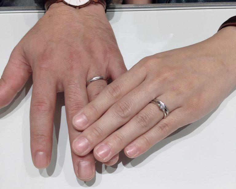 【サムシングブルー】重ねづけも綺麗!婚約指輪・結婚指輪をご成約(村上市/N様・M様)