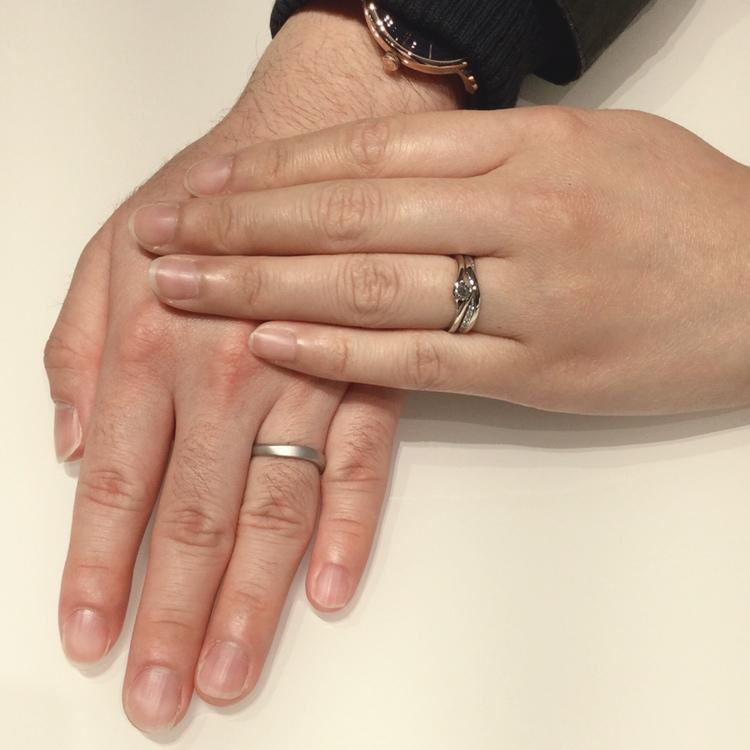 【NIWAKA】重なりの美しいセットリング/婚約指輪「暁」結婚指輪「茜雲」をご成約(新潟市/T様・M様)
