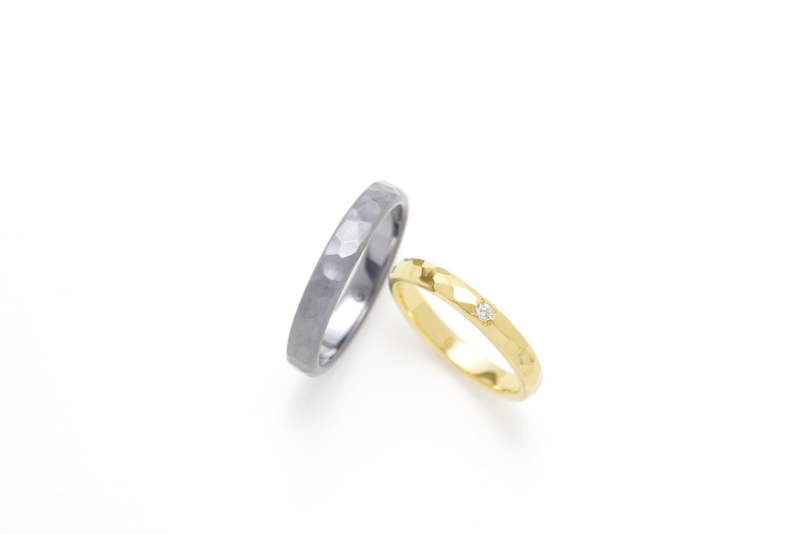 SORAの槌目の結婚指輪「アイナ」