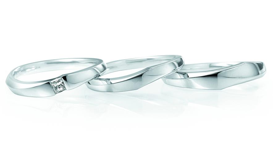 LUCIEのウェーブ1石の結婚指輪