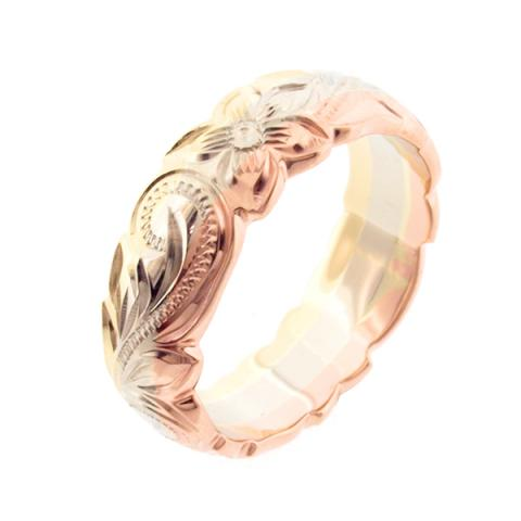 ハワイアンジュエリーの幅広の結婚指輪