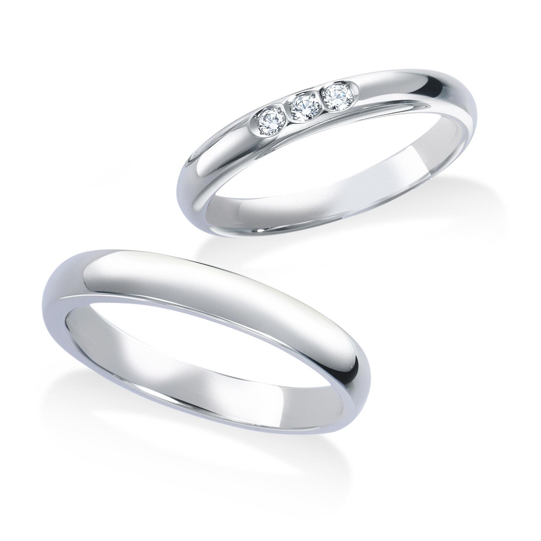 ロイヤル・アッシャーの3石の結婚指輪