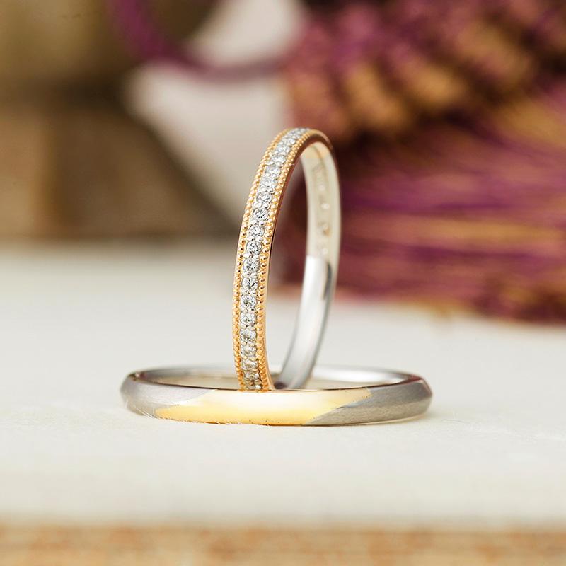 プラチナとゴールドの結婚指輪 ミル打ち