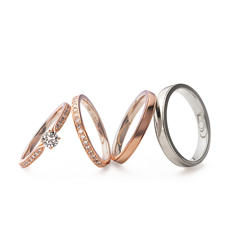 ミル打ちの結婚指輪 アンティーク ルシエ