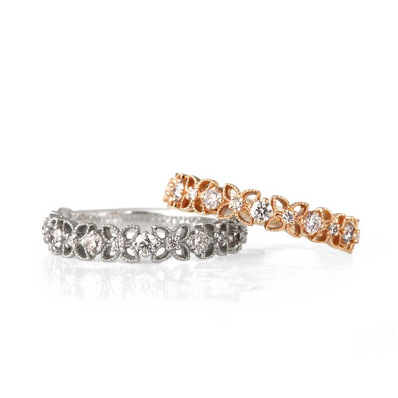 可愛い結婚指輪 透かし ミル打ち
